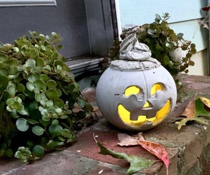 DIY Halloween Cement Jack O' Lantern