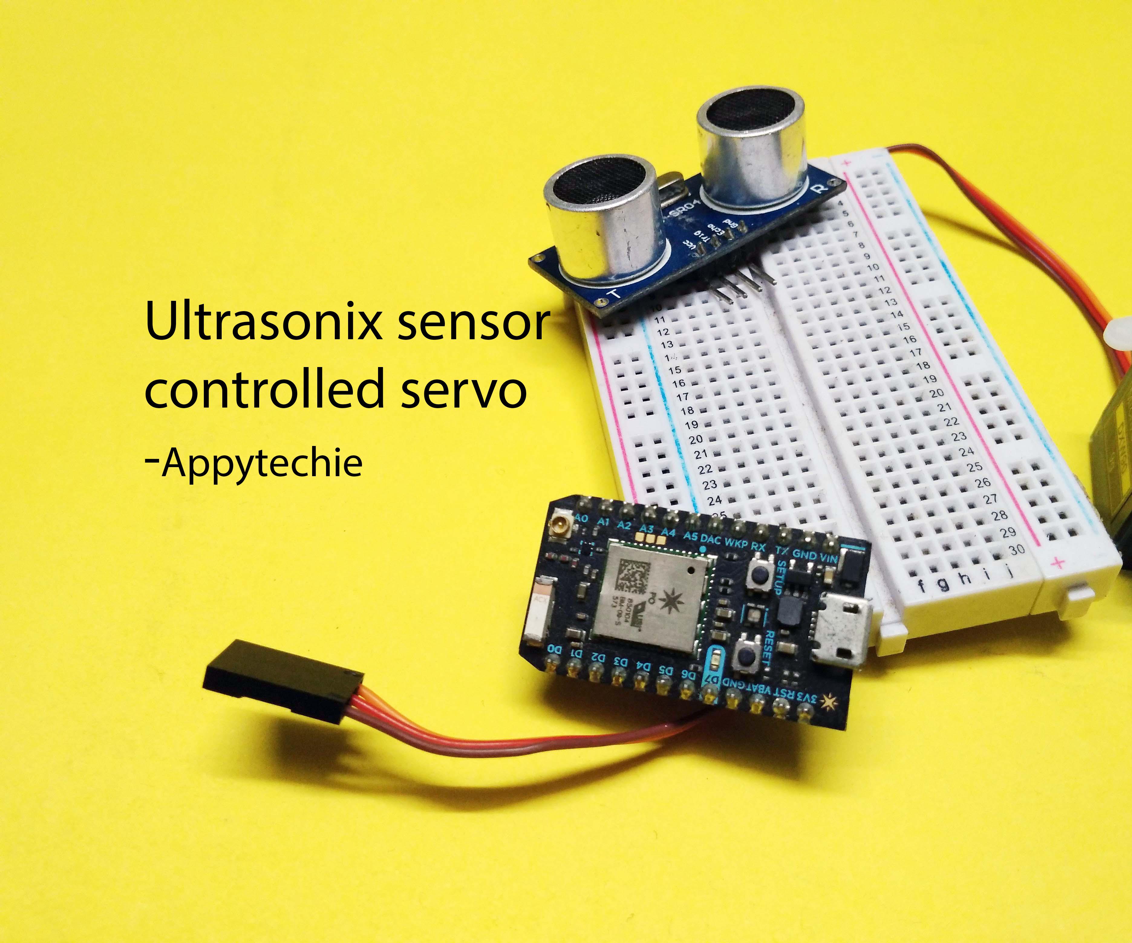 Interface Ultrasonic Sensor and Servo to Photon