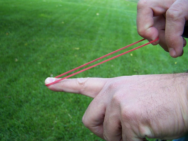 Shooting a Rubber Band in a Curved Path