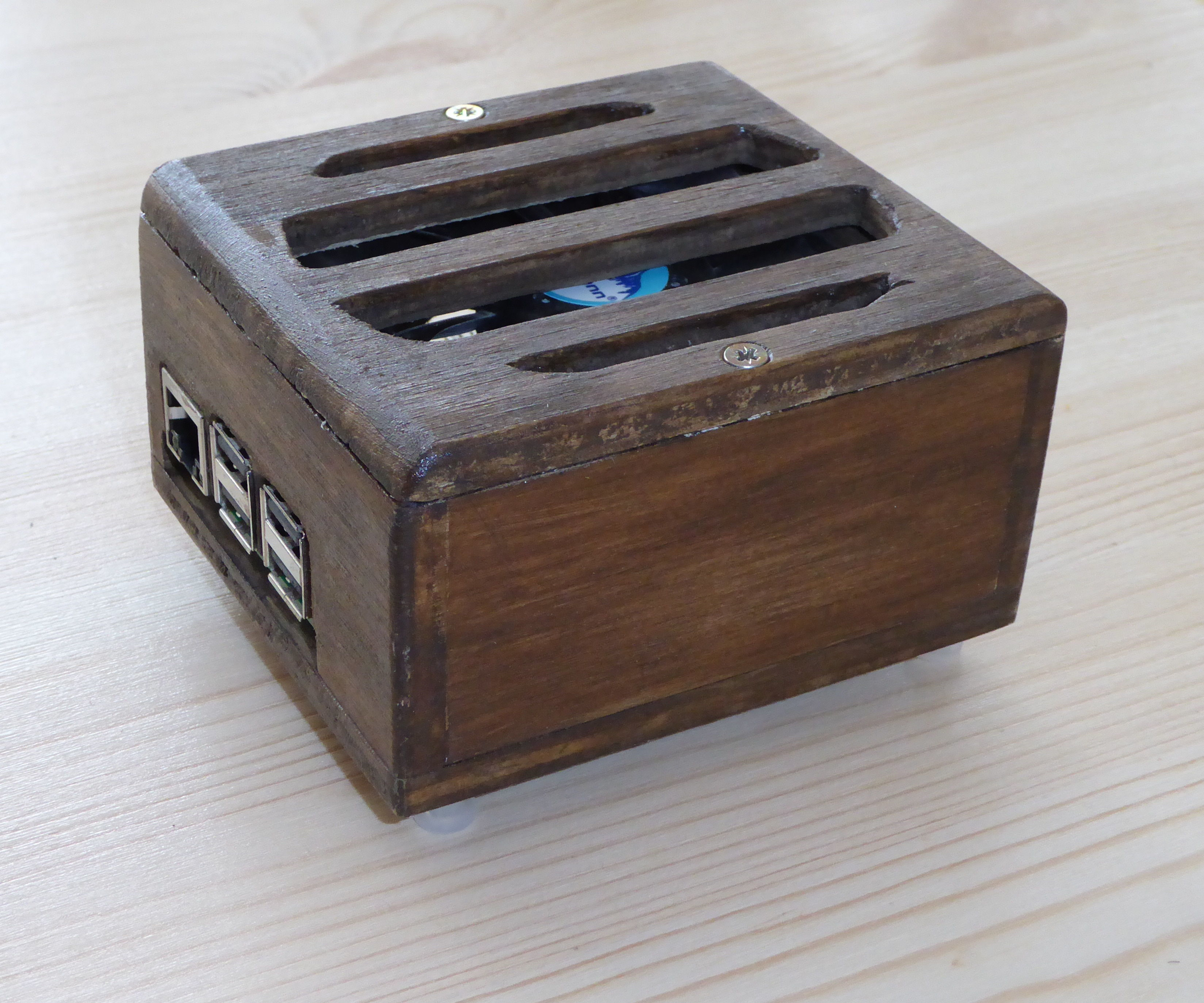 Wooden Raspberry Pi box with fan