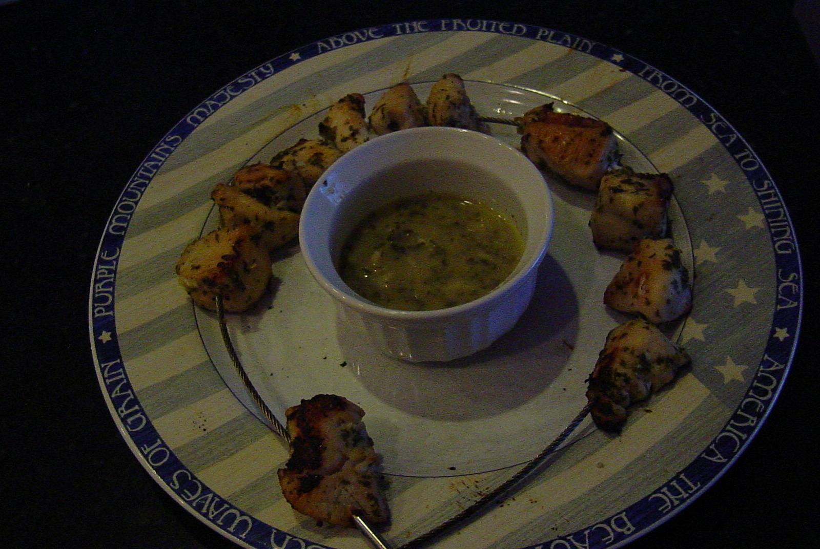 Lemon, Garlic, Mint Chicken Kabobs (no salt added)