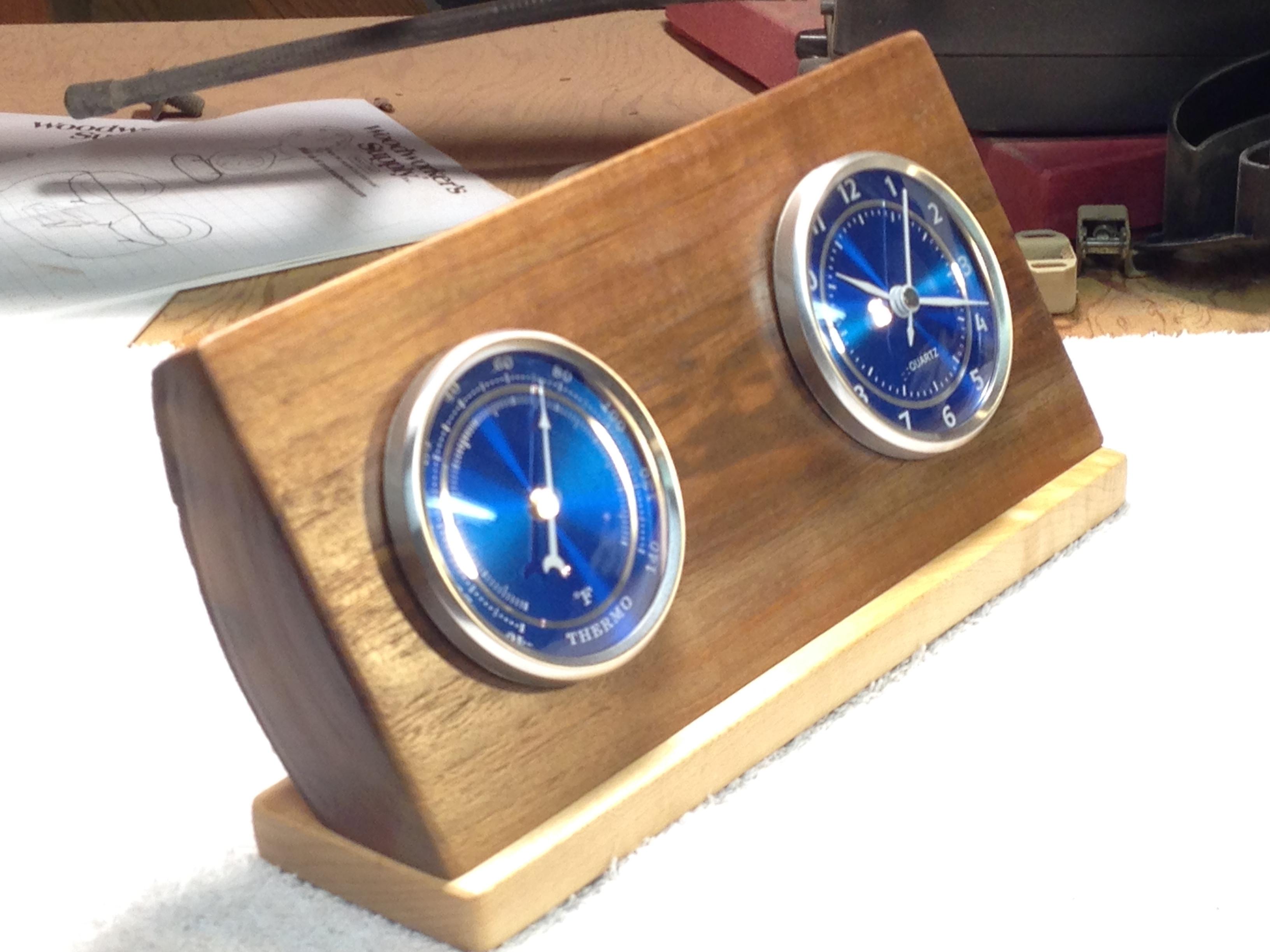 Desk Clock/Thermometer made from walnut, scrap, cutoff piece.