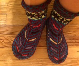 Repairing Holy Wool Slipper Socks W/ Needle Felting