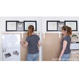 Hidden Home Office Whiteboard With DIY Barn Door Hardware