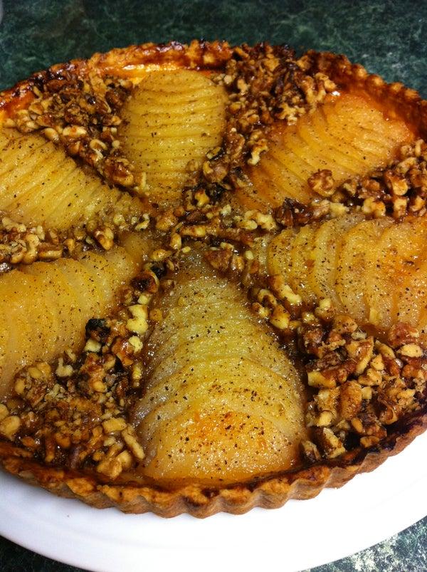 Bosc Pear and Walnut Tart