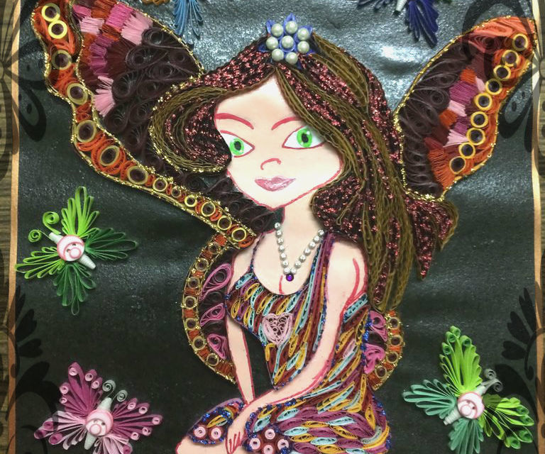 Quilled fairy wall hanging