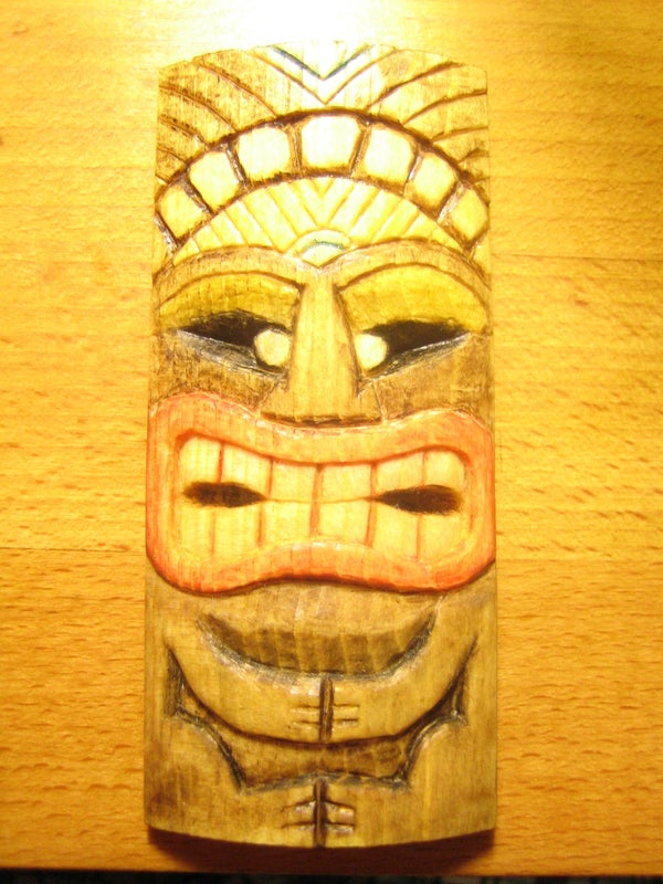 Carve a Miniature Tiki Mask and Color It Cheaply and Eco-friendly