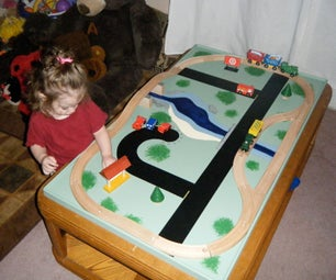 Kids Play Table Made Out of an Old Coffee Table.