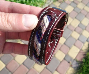 Leather Bracelet With Braided Insert