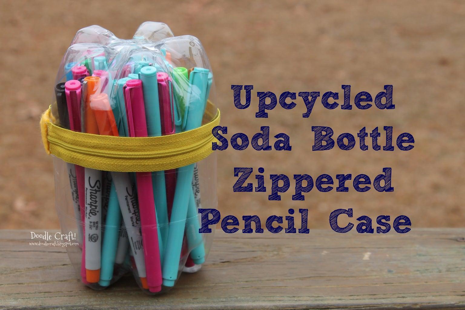 Upcycled Soda Bottle Zippered Pencil Case!