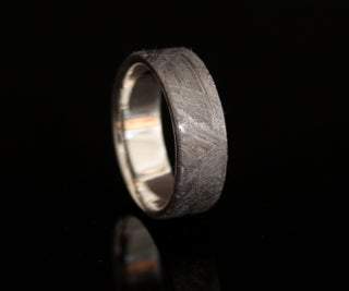 Iron Meteorite Ring With Sterling Silver