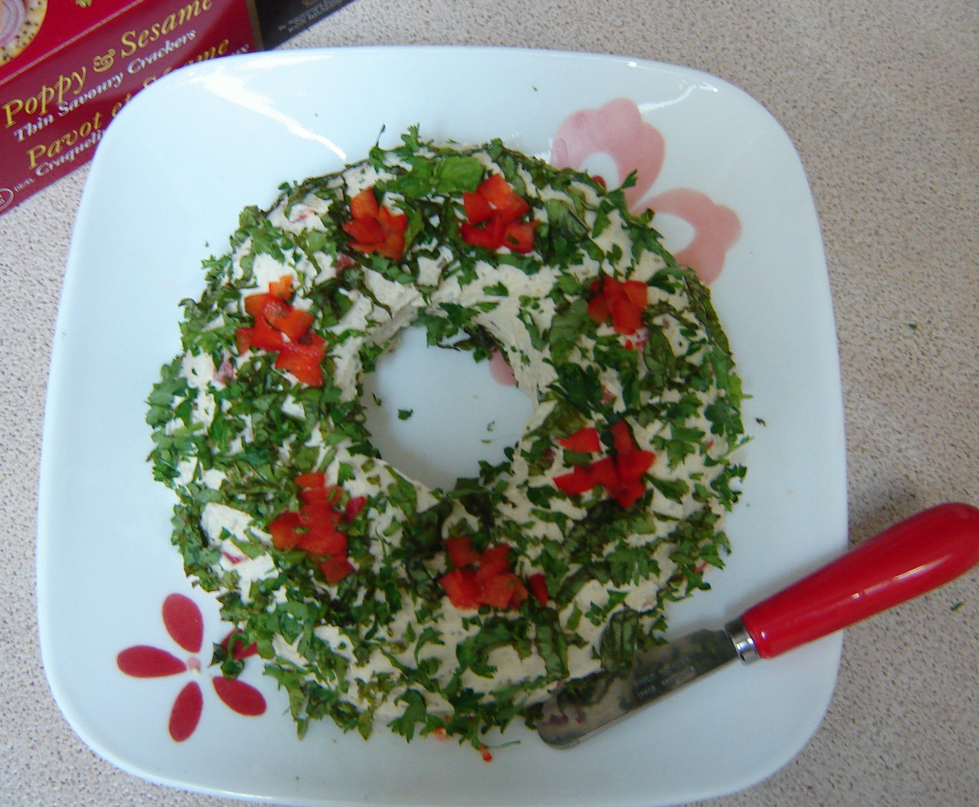 Festive pesto cheese spread