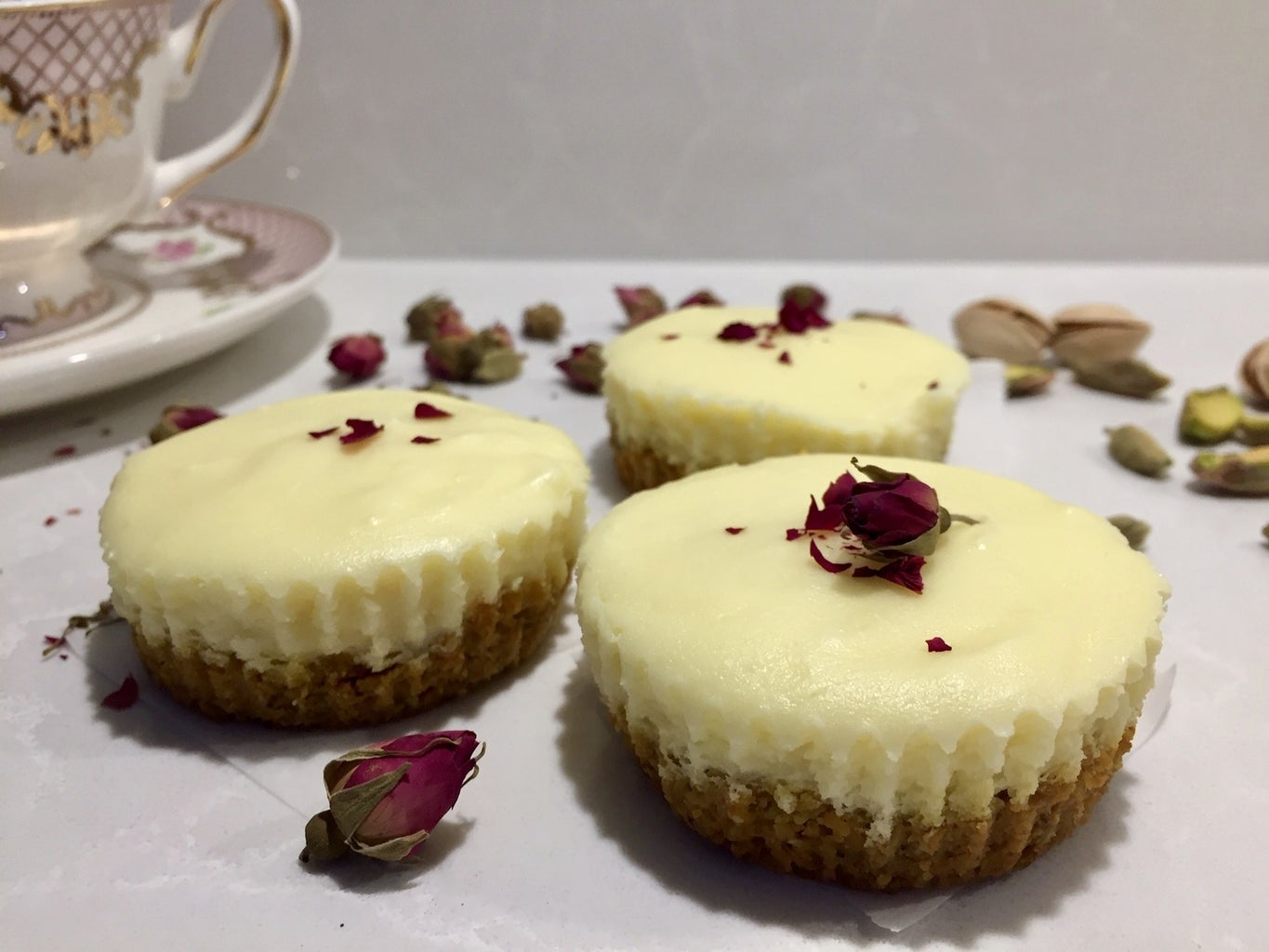 Rosewater Pistachio Cheesecake Cups