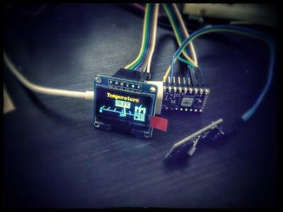 OLED + Temperature Sensor on Espruino (JavaScript on MCU)