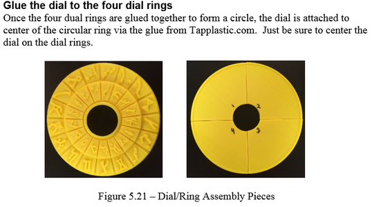 Construction -  Glue the Dial to the Four Dial Rings