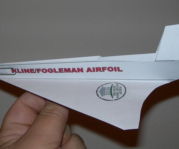 Kline/Fogleman Airfoil #1 Paper Airplane