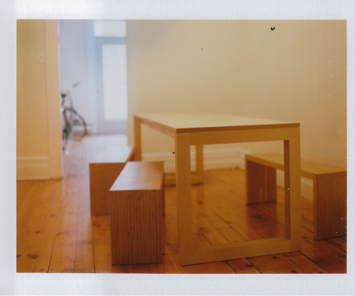 Plywood chic —Dining table and benches
