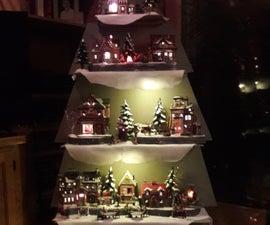 Christmas Tree Snow Village Display