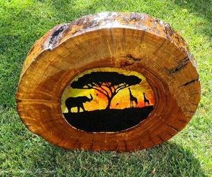 木制suncatcher(非洲日落)