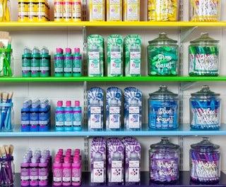 Craft Room Makeover Rainbow Shelves