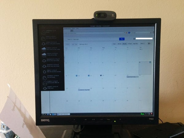 Raspberry Pi Google Calendar With Motion Controlled Webcam and Weather