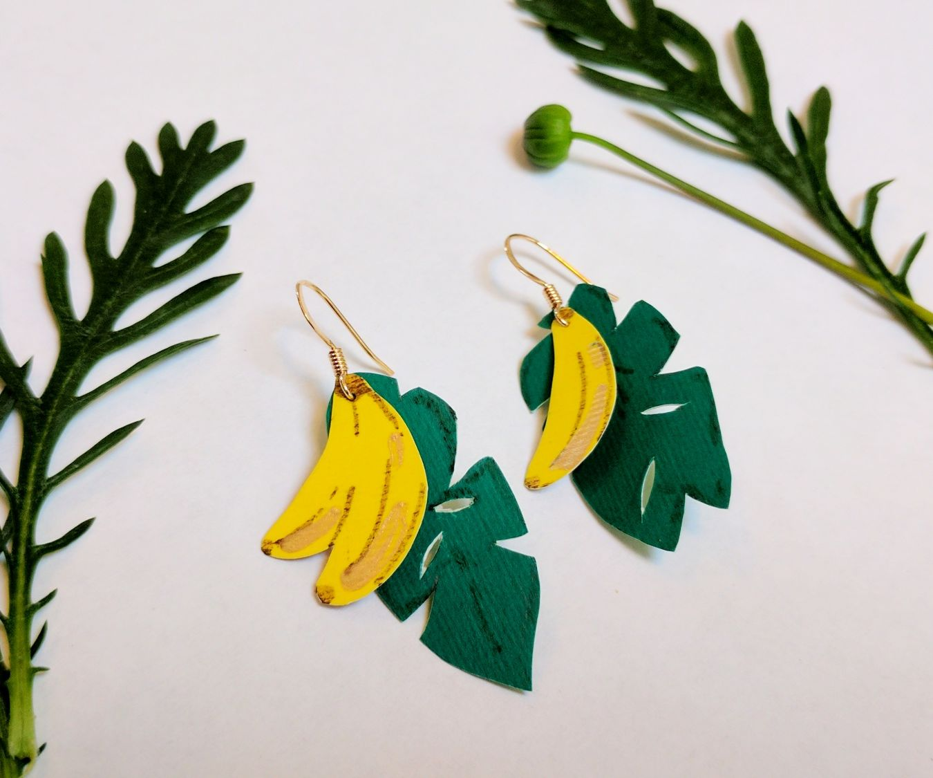 Paper Tropical Banana Earrings