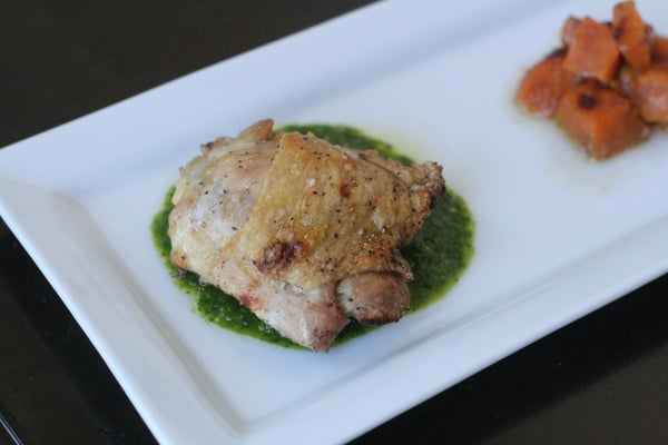 Roasted Chicken Thighs With Cilantro Sauce and Butternut Squash