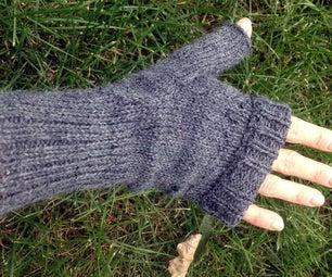 Knitted Fingerless Mittens on a Circular Sock Machine