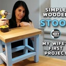 Simple Wooden Stool - My Wife's First Project | Surprise DIY Woodworking Workshop
