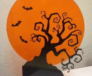 Spooky Tree and Bat Decoration