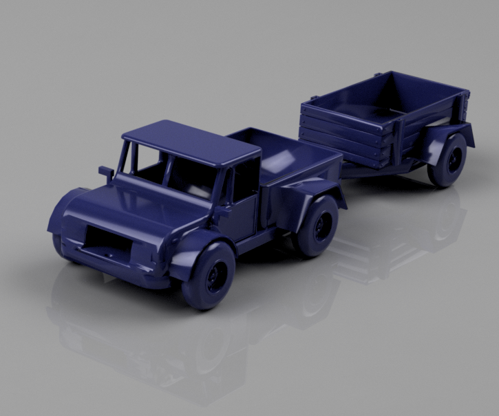 Pickup Truck Toy With a Trailer [3D Printed]