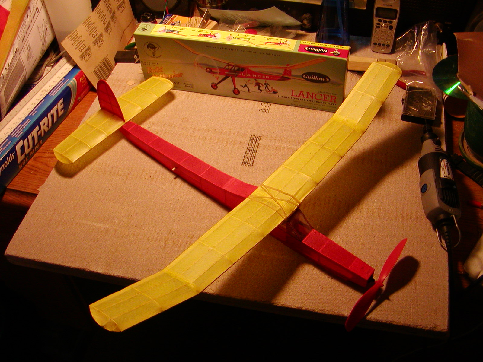Covering a model airplane in Tissue