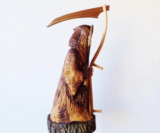 Grim Reaper Carved From a Walnut Log
