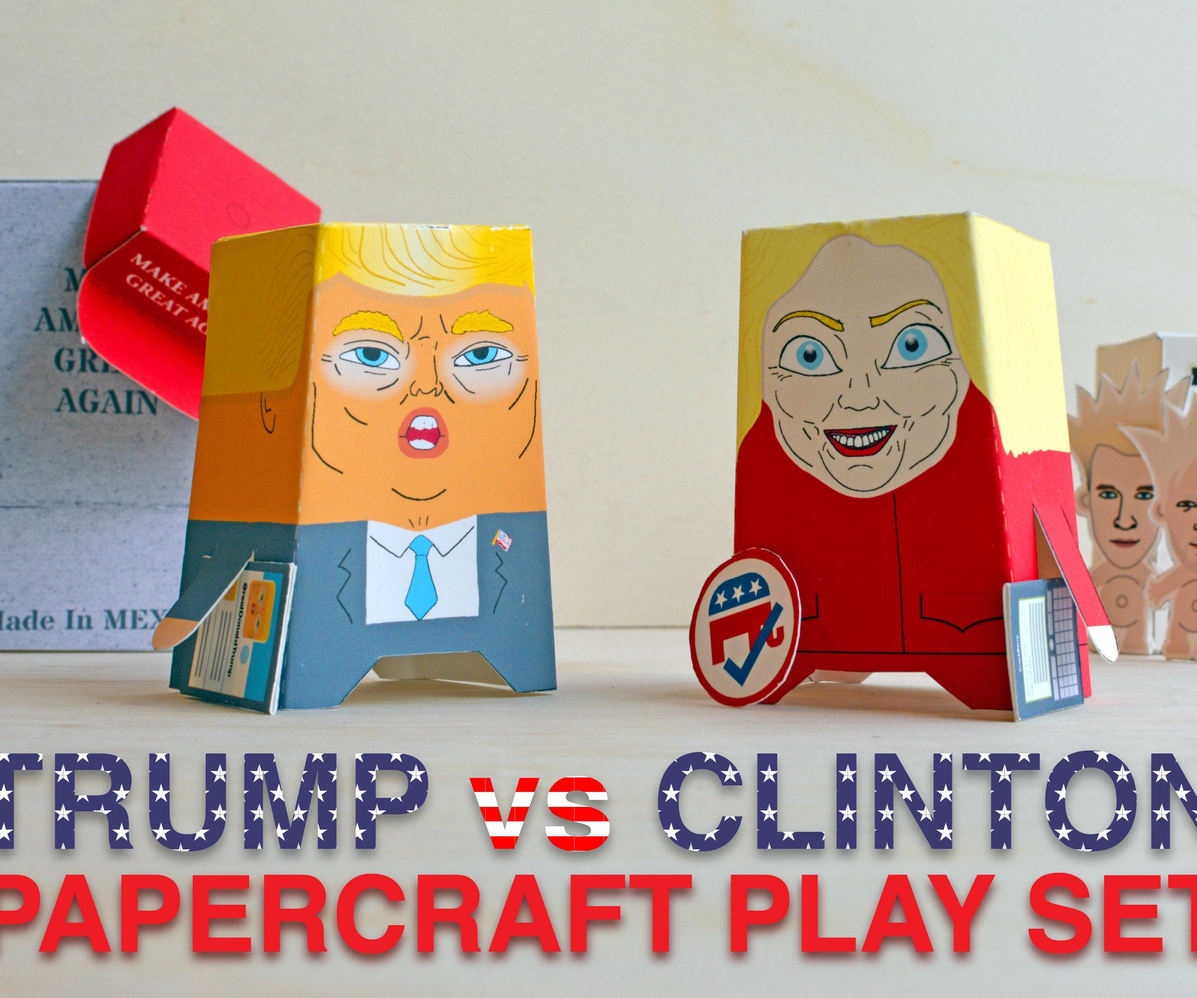 Trump vs Clinton Papercraft Play Set