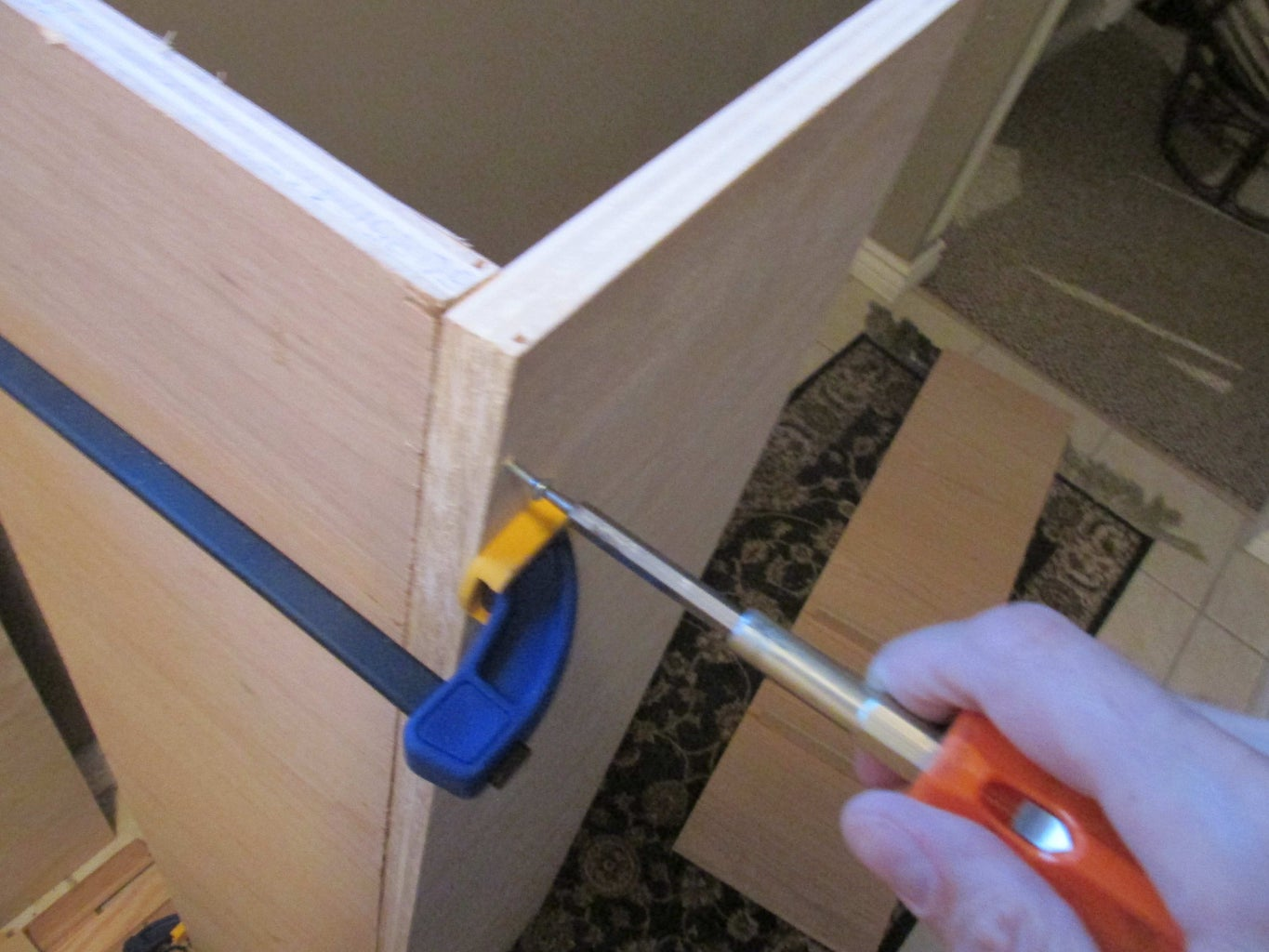 Drill Holes for Dowels, Begin Box Assembly