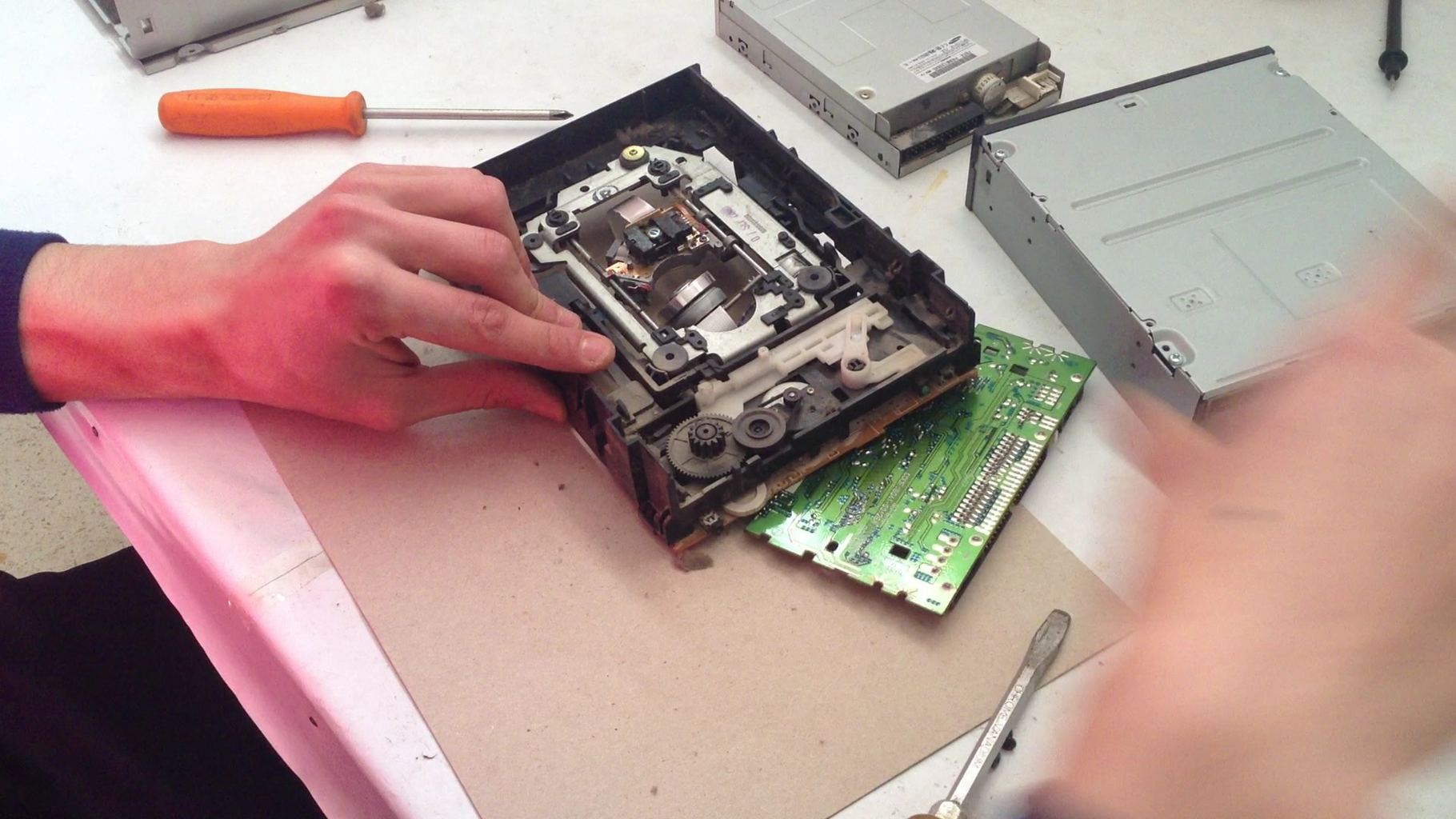 Gathering the Parts We Need From the DVD-drives