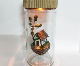 Miniature Floating House in a Bottle