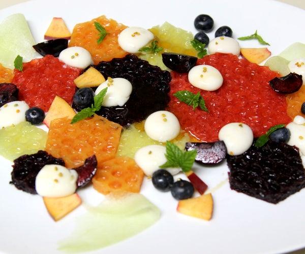 Honeycomb Fruit Gel & Yogurt Spheres