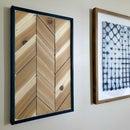 Arte de pared de madera de cedro Chevron