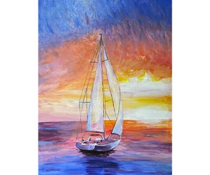 Sunset Sailing Drawing With Rainbow Colors