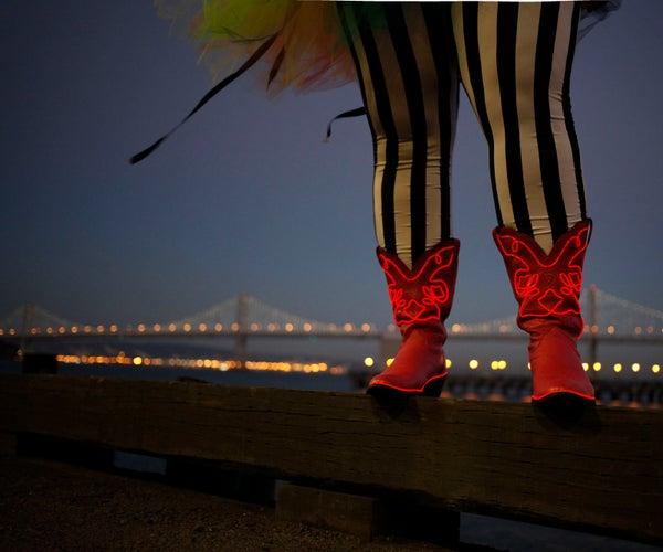 EL Wire Cowboy Boots