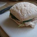 Ciabatta bread turkey and spinach sandwich