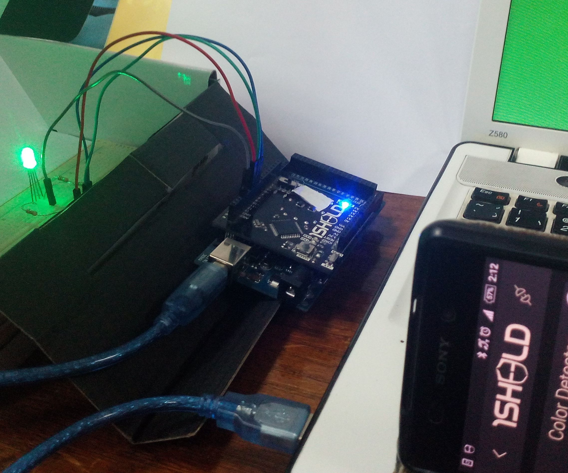 Contorlling an RGB LED with Color Detector Camera