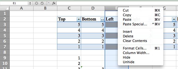 Function Bar, Row/column