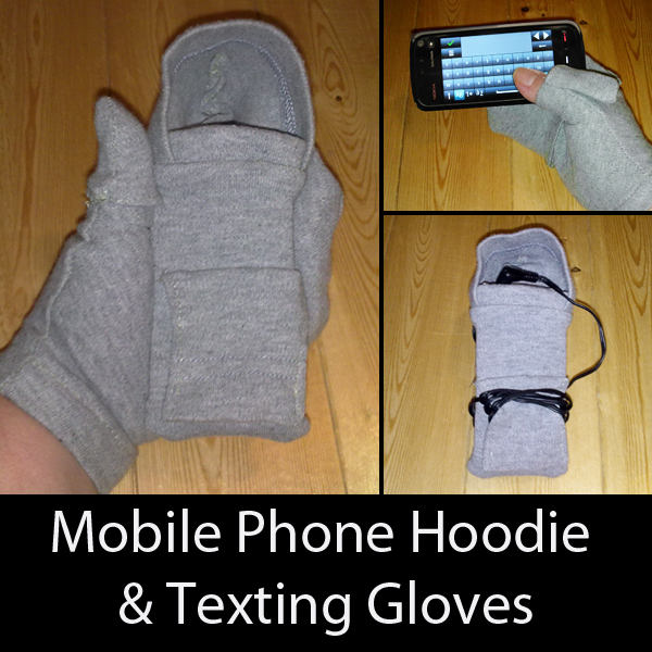 Mobile Phone Hoodie and Texting Gloves