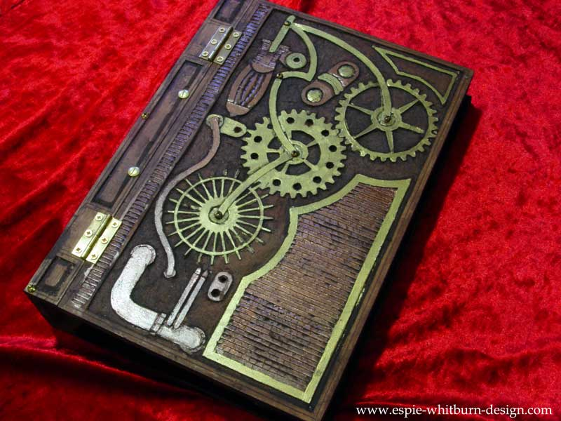 Steampunk inspired wood book