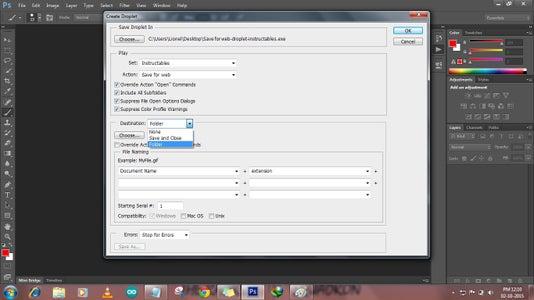 Choose Destination Type Folder