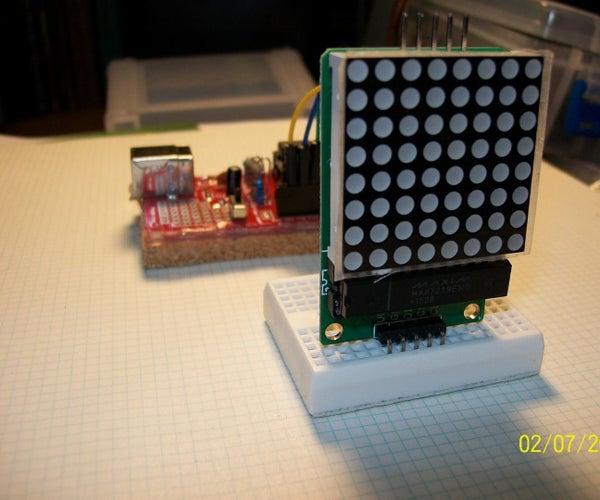 V-USB ATtiny85 Project Board and an 8x8 Red LED Matrix Display