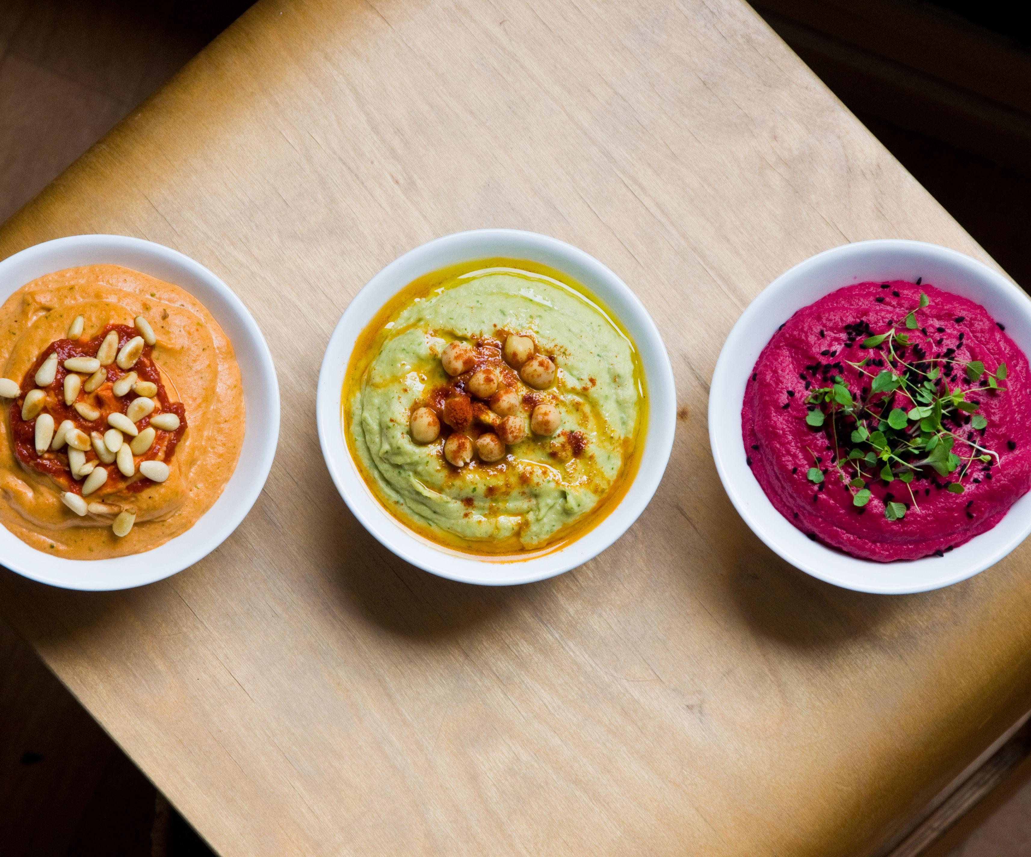 Creamy Hummus Three Ways - Beetroot, Roast Red Pepper & Traditional
