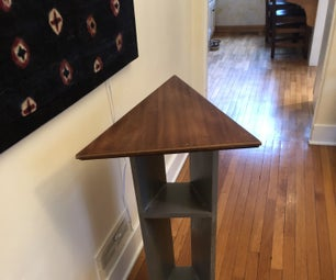 Useful Triangular Table From Old Cabinet Door